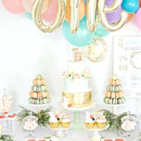Peach, Mint Green and Gold Woodland Themed Deer and Bunny Rabbit Cake Table Balloon Arch 2 Cherie Kelly London