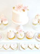 Pink, White and Gold Bridal Shower Roses Cake, Cupcakes, Cookies, Cakepops and Bauble Cakes Dessert Table Cherie Kelly London