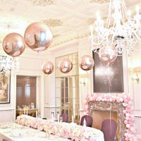 Pink, White and Rose Gold Themed Birthday Wedding Cake, Flower Runner Arrangements and Balloon Garland at The Connaught London Cherie Kelly