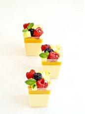 Yellow mango panna cotta dessert pods Cherie Kelly cake london