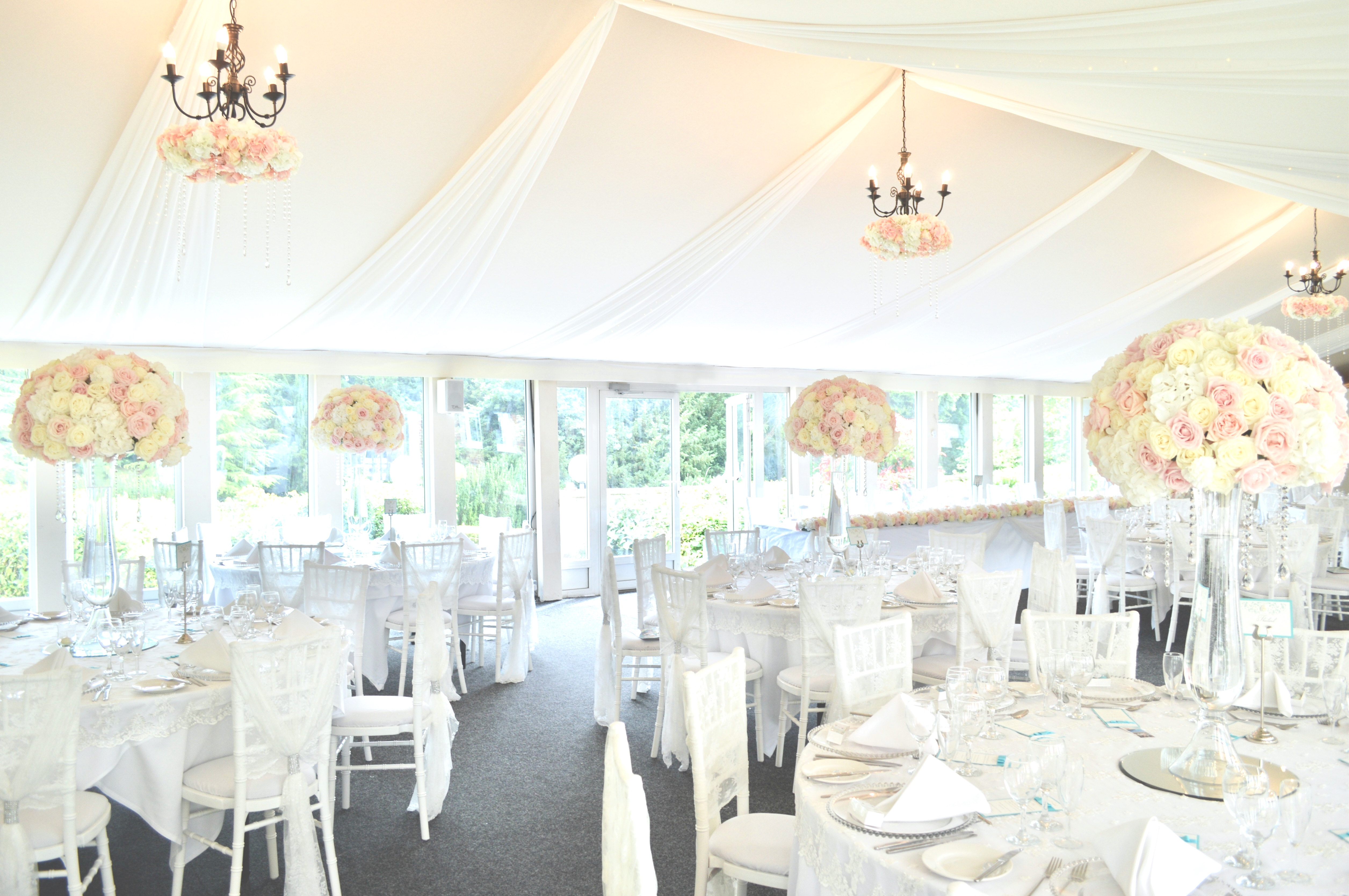 Luxury Blush Pink and White Wedding Flowers and Cake at Hunton Park Peony Hydrangeas and Roses Tall Vase Centrepieces with Crystals and Floral Chandelier Cherie Kelly Cake London 5
