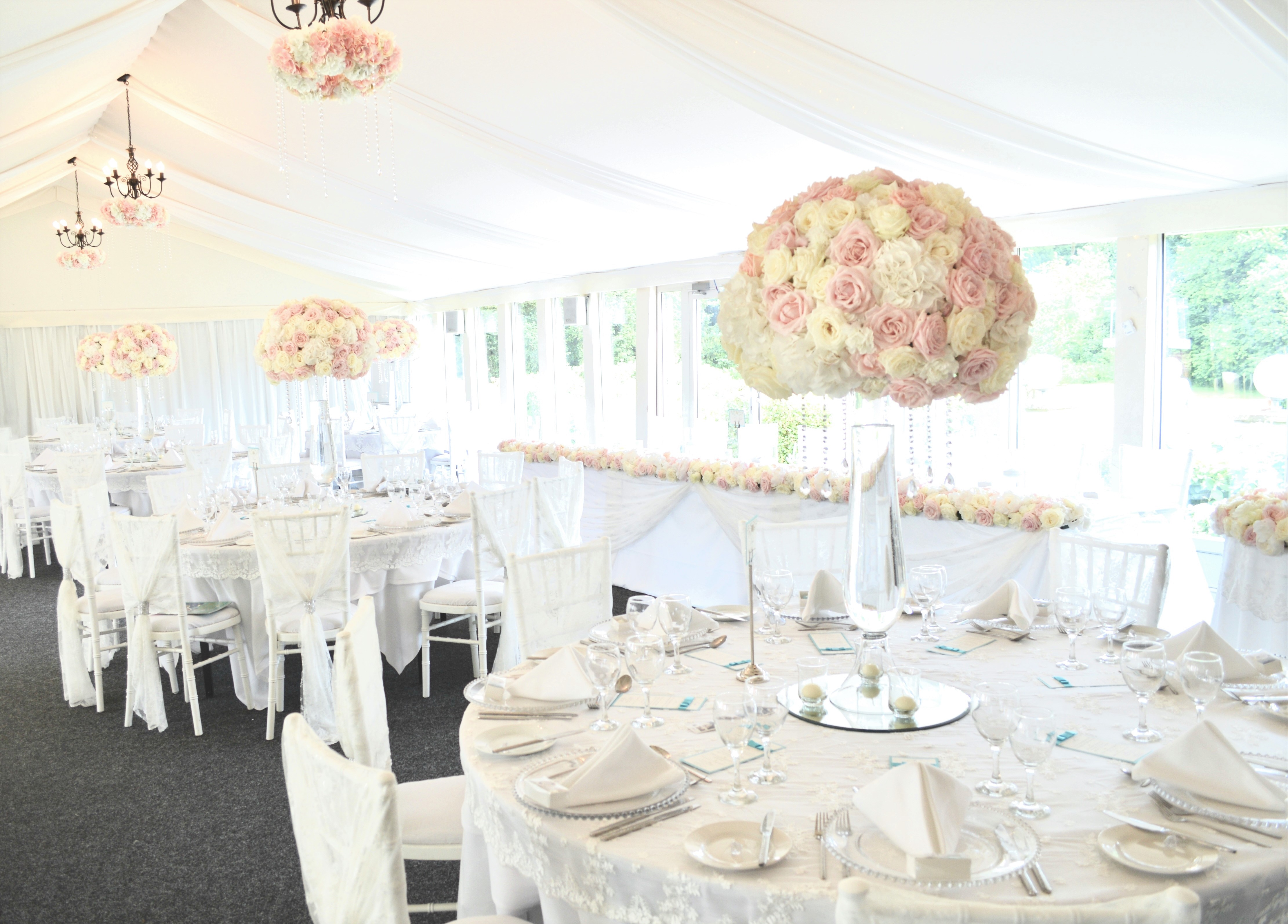 Luxury Blush Pink and White Wedding Flowers and Cake at Hunton Park Peony Hydrangeas and Roses Tall Vase Centrepieces with Crystals and Floral Chandelier Cherie Kelly Cake London 6