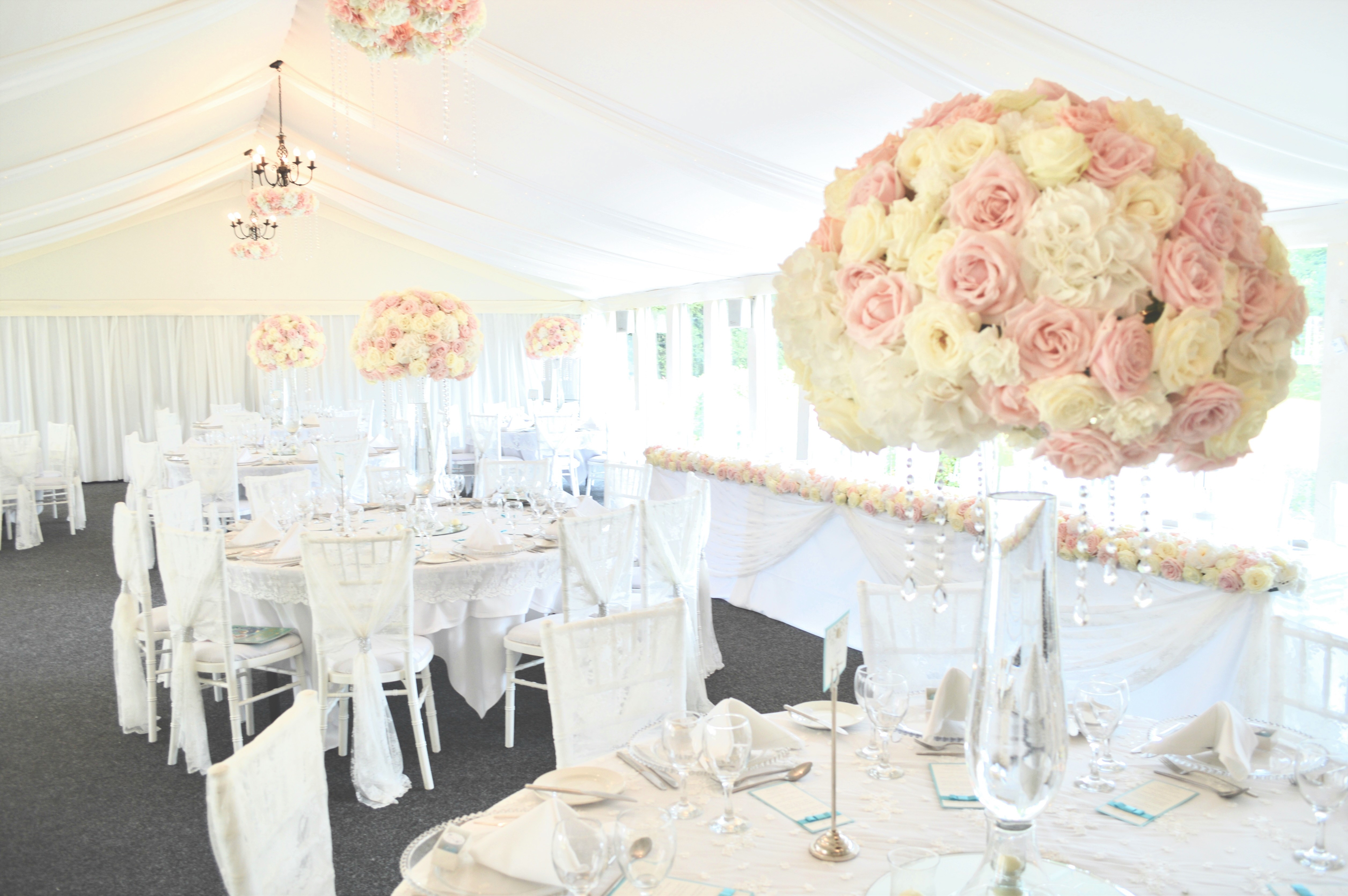 Luxury Blush Pink and White Wedding Flowers and Cake at Hunton Park Peony Hydrangeas and Roses Tall Vase Centrepieces with Crystals and Floral Chandelier Cherie Kelly Cake London 8