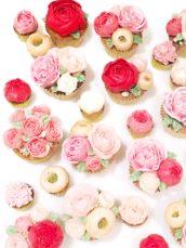 Korean buttercream flowers roses ranunculus peonies and blossom cupcake cake Cherie Kelly cakes London