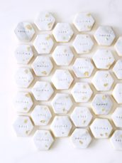 Marble pattern wedding favour cookies with gold leaf customised bride and groom biscuits Cherie Kelly cakes London