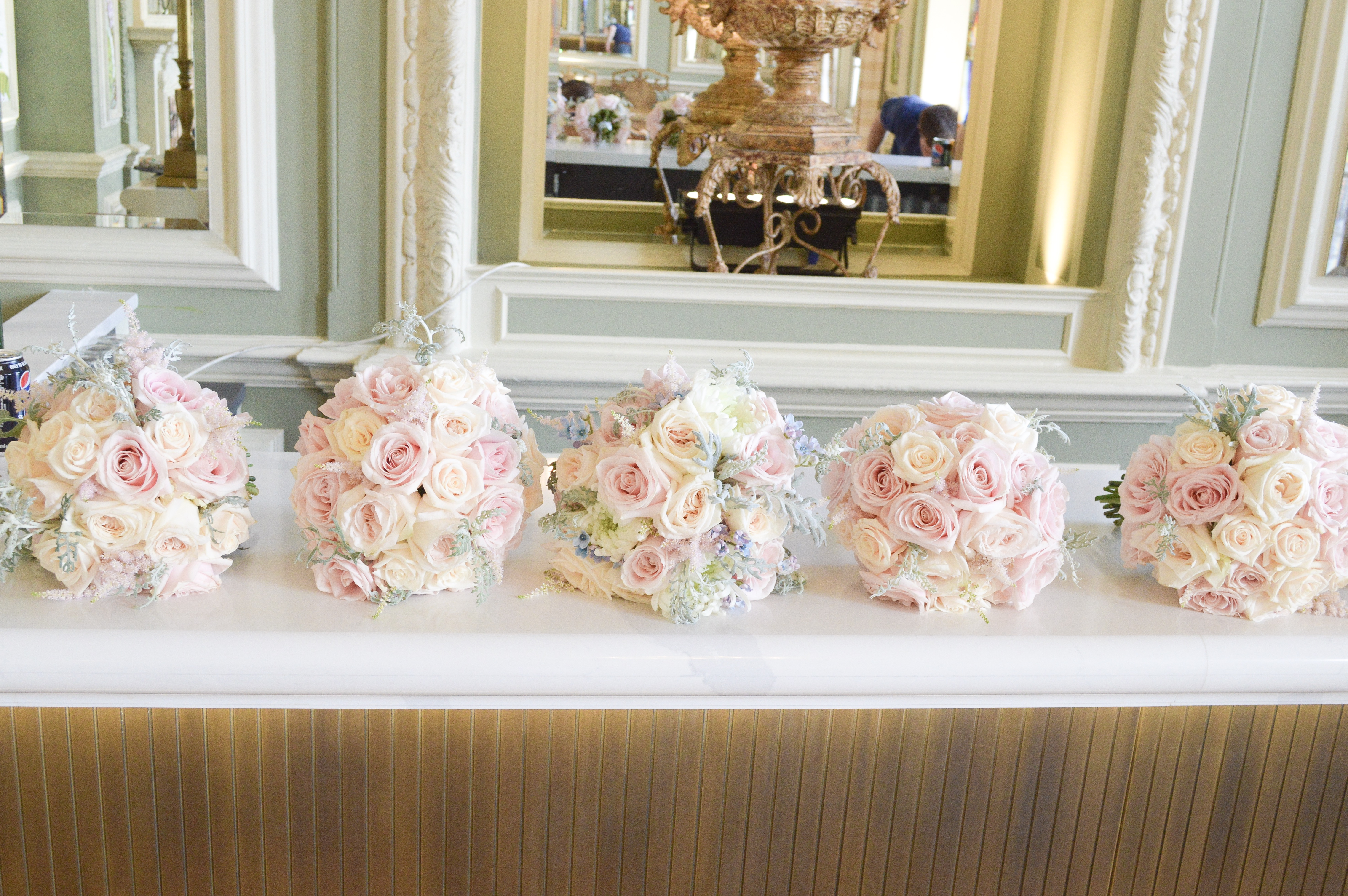 Dusty blue and pink wedding flowers bridal bouquet bridesmaids bouquet Cherie Kelly cakes London Hedsor House