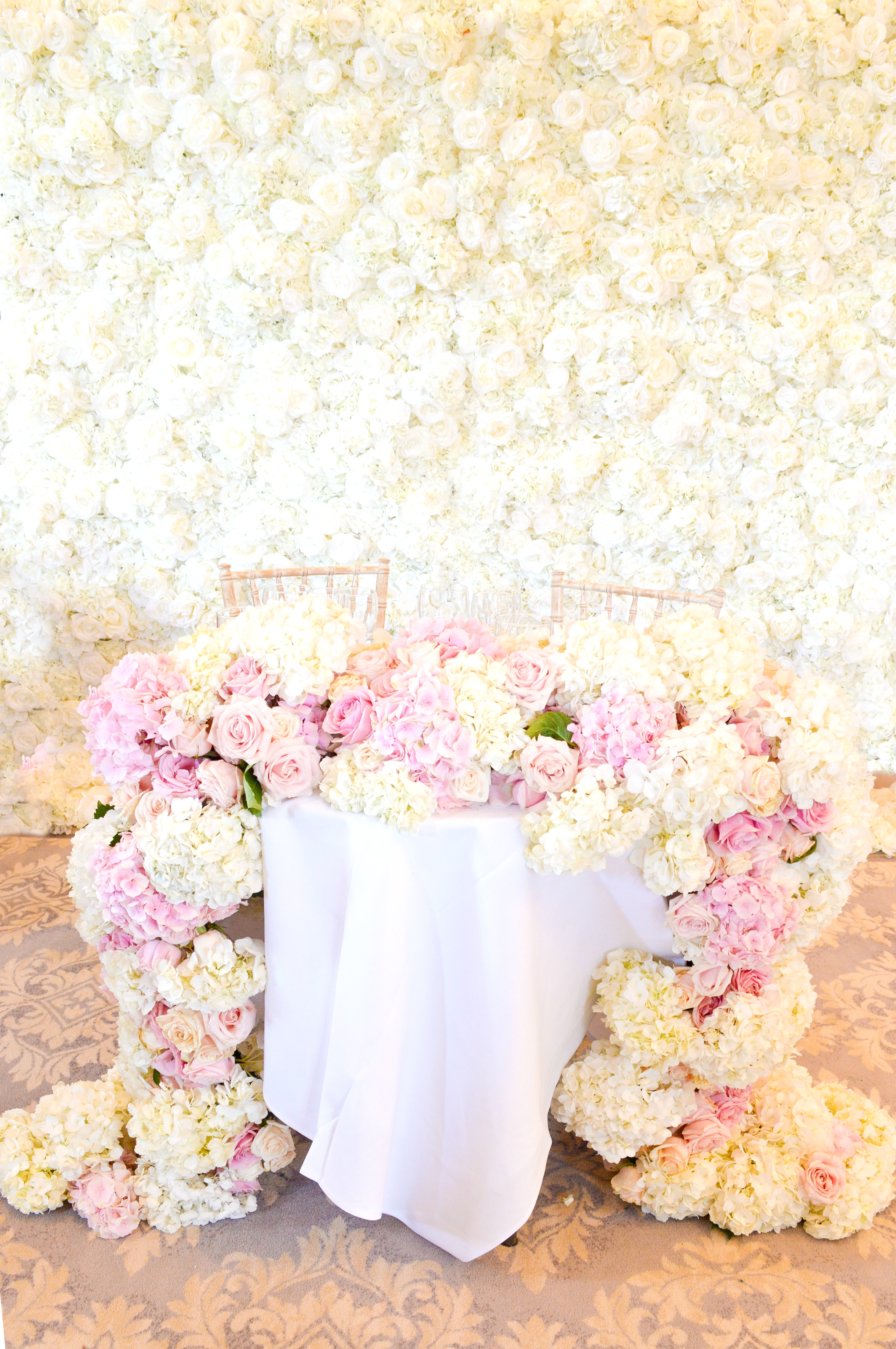 Dusty blue and pink wedding reception head toptable sweetheart table floral flower garland flower wall Cherie Kelly cakes London Hedsor House